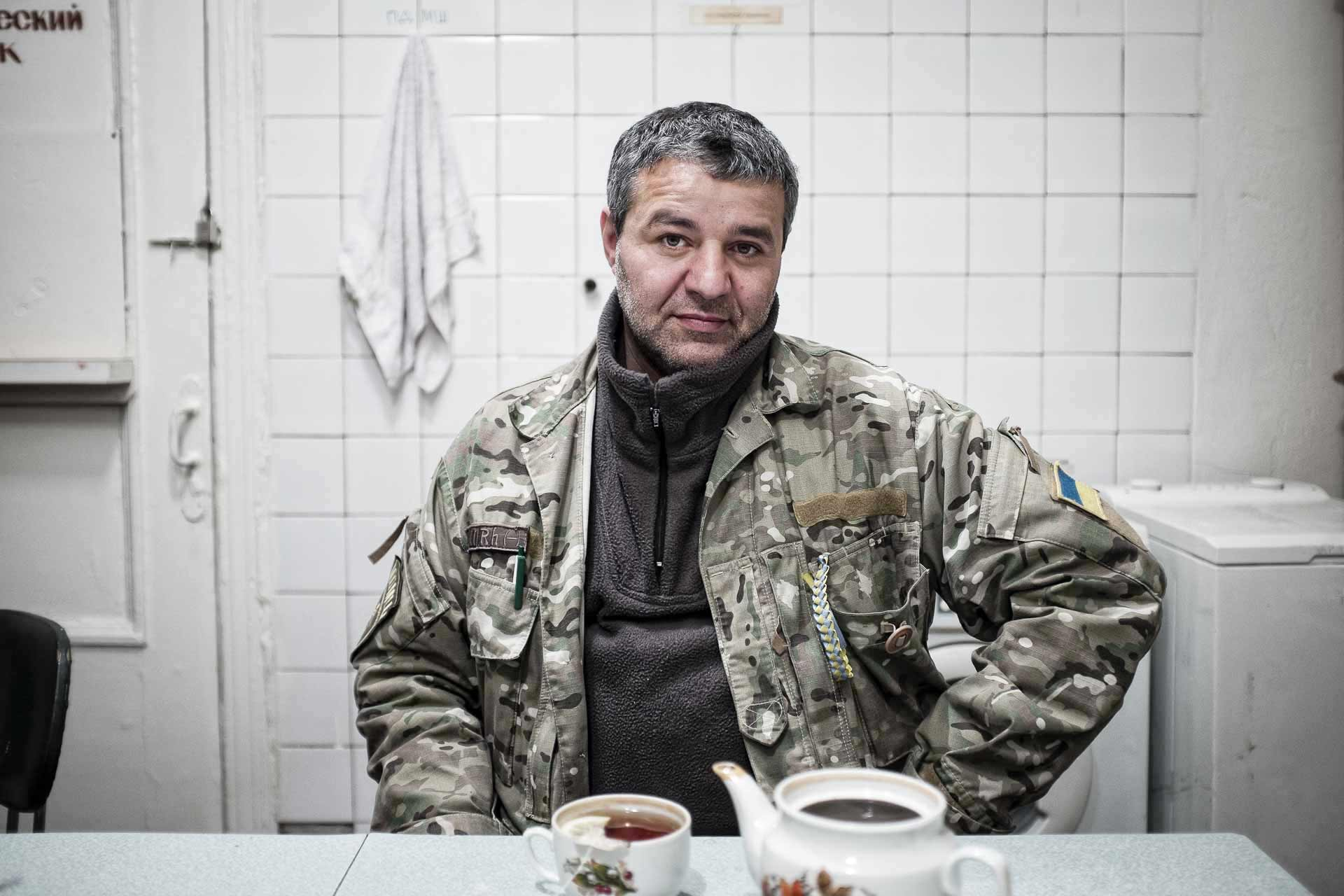 Suren, from Khmelnytsky, volunteers as a ambulance driver at mobile hospital. Plans to stay here till he will be able to parade on Moscow. Bakhmout - UKRAINE