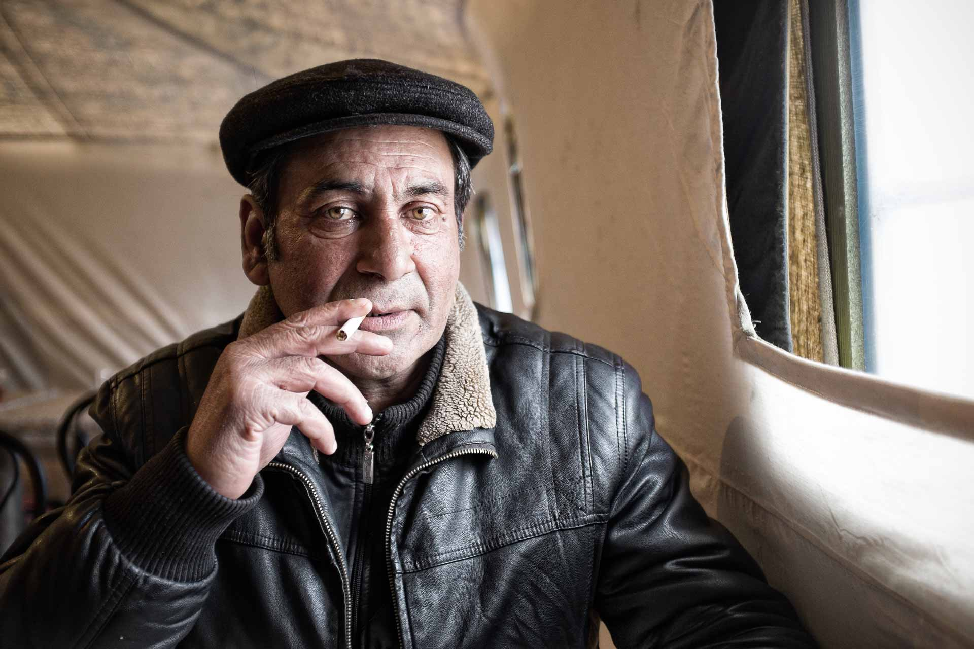 Vassili, 52 is from Yenakevio. The house he used to live in, in Donetsk, has been bombed. His brother could afford to live to Moscow. Vassili could escape from Donetsk but the Ukrainians authorities forbid him to come back to Donetsk. Because of his Gypsies origins, he has been beaten by DNR secessionists. One of is son is living in Moscow. But he has not enough money to join him. Vassili can't help crying, thinking to all what he lost. He now lives in a wagon in Slaviansk railway station. Slaviansk - UKRAINE