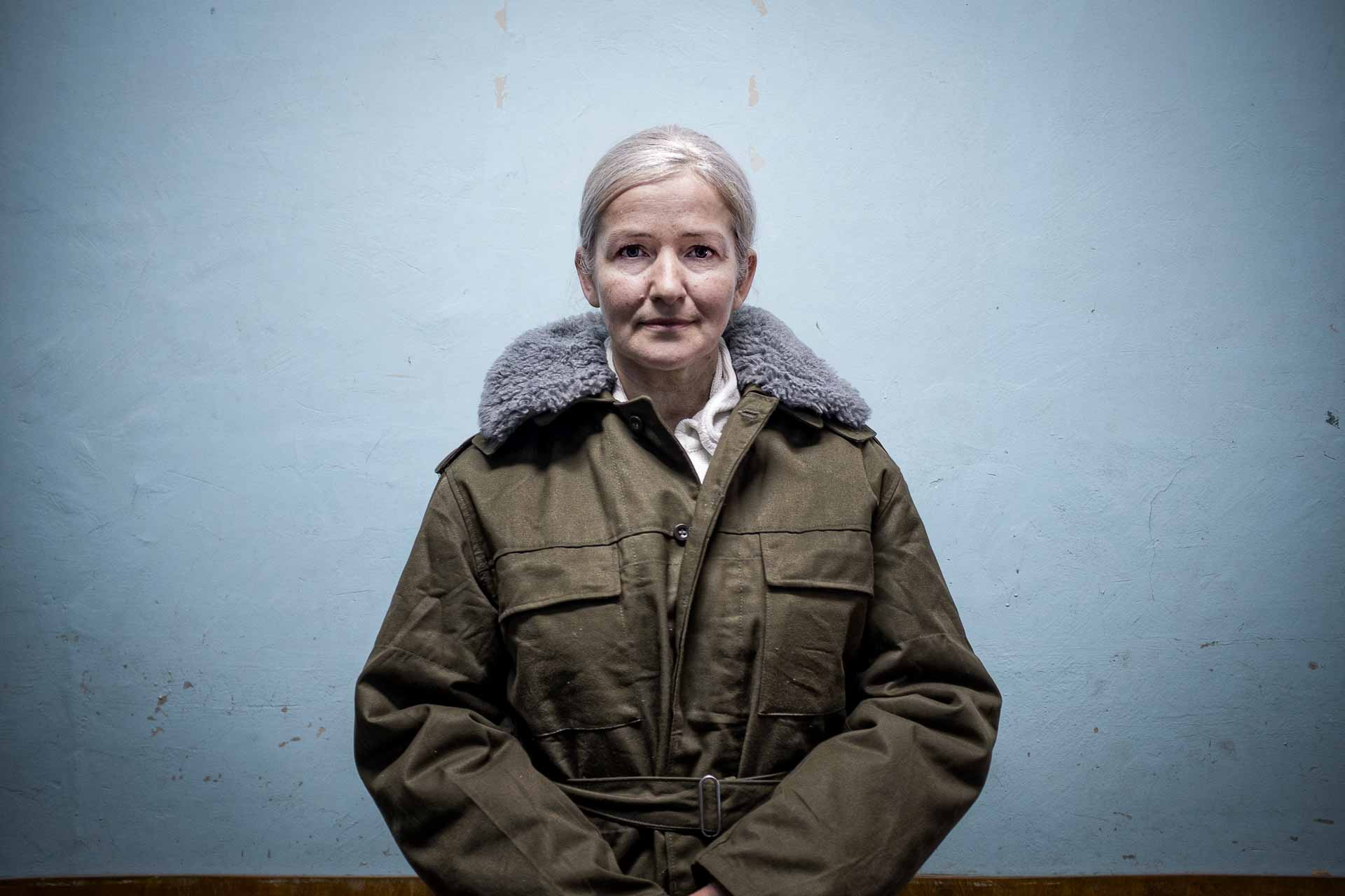 Taicia, volunteer, 51, is a nurse from Kyiv. She helps humbly. Her face seems coming straight out of a sovietic mural fresco of the fifties. Bakhmout - UKRAINE