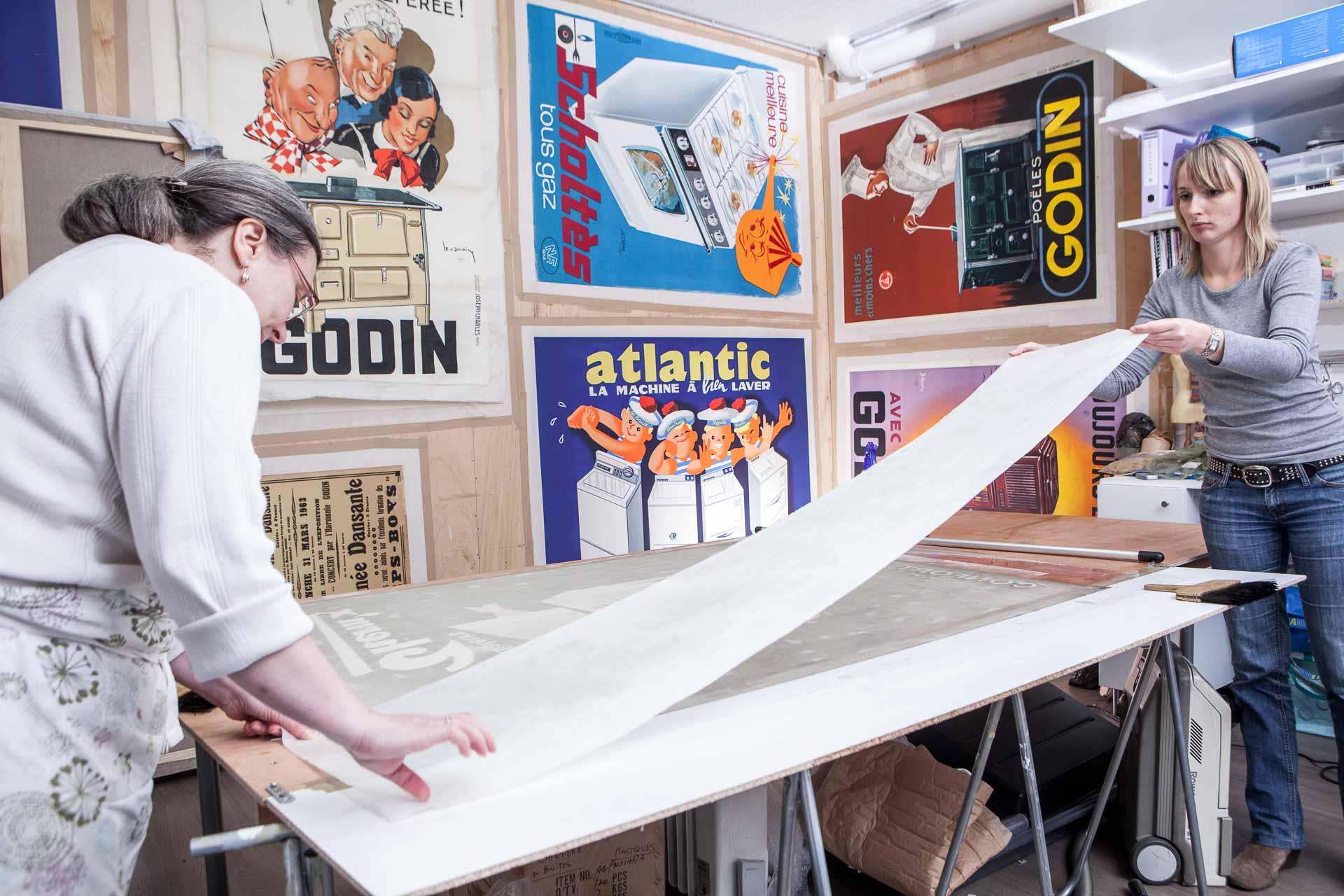 An art restoration workshop in Paris